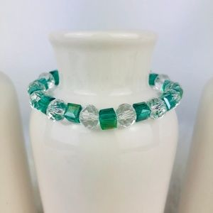 Womens Crystal Glass Green Beaded Bracelet-889